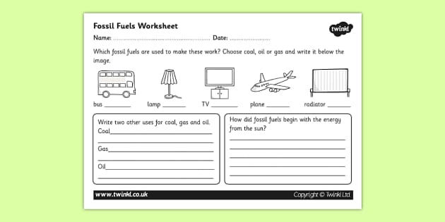 Fossil Fuel Worksheet - fossil fuels, renewable energy, energy sources