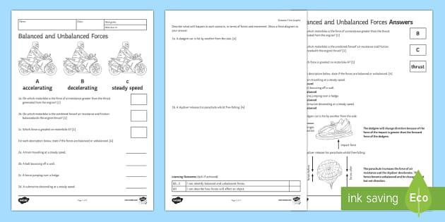 Balanced Forces Worksheet Homework forces force balanced – Balanced and Unbalanced Forces Worksheet