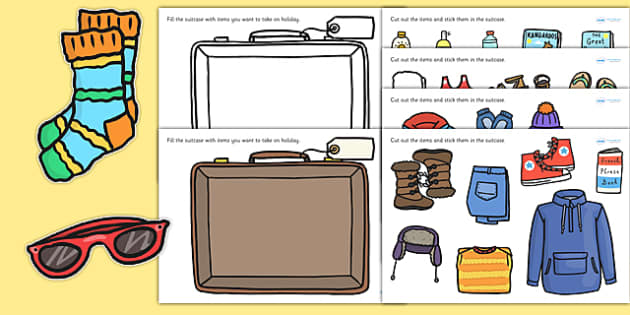 Pack A Suitcase Cut And Stick Activity Suitcase Cut And