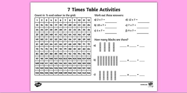ks2 maths worksheet 7 x table primary resources. Black Bedroom Furniture Sets. Home Design Ideas