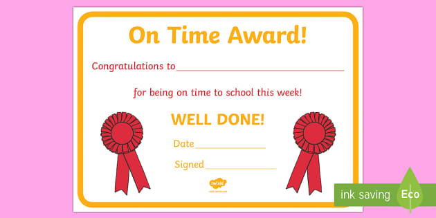 Punctually Award Certificate - punctually, punctual, on time