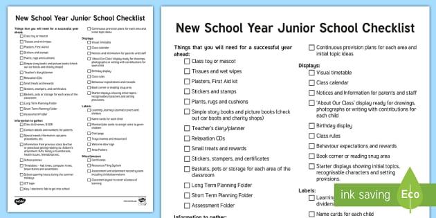 NQT New School Year Checklist - ROI, NQT, Checklist, Teacher