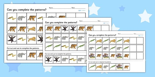 jungle themed complete the pattern worksheet differentiated. Black Bedroom Furniture Sets. Home Design Ideas