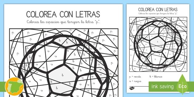 Colorea con letras: La letra P - juego lectoescritura, juego
