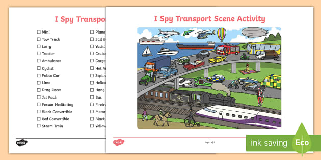 transport i spy scene activity transport scene i spy activity. Black Bedroom Furniture Sets. Home Design Ideas