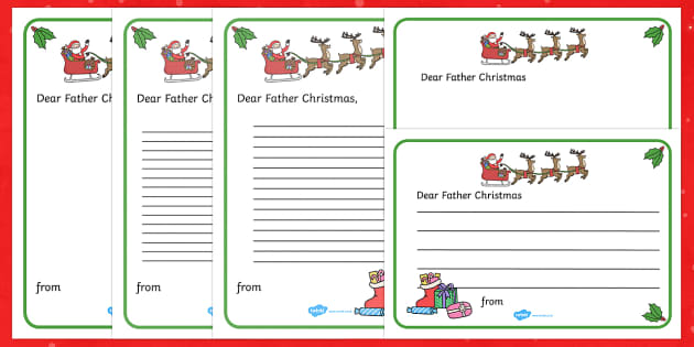 Letter to father christmas writing template christmas spiritdancerdesigns Image collections
