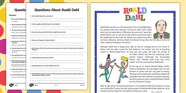 UKS2 Roald Dahl Reading Prehension Activity