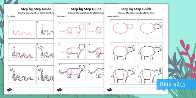 Free Easy How To Draw Jungle Animals For Kids Step By Step