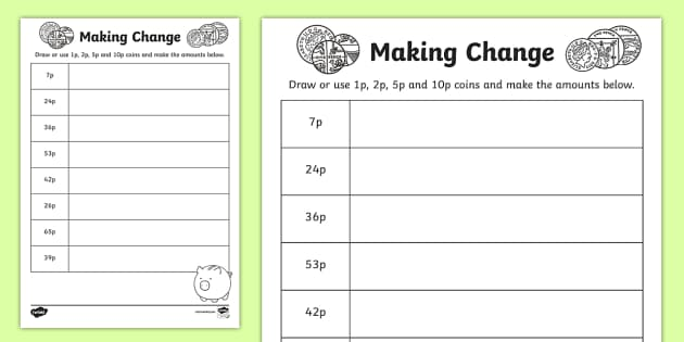 making change 1p 2p 5p and 10p coins worksheet activity. Black Bedroom Furniture Sets. Home Design Ideas