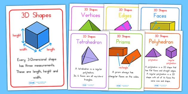 3d Shape Properties Display Posters 3d Shapes Maths