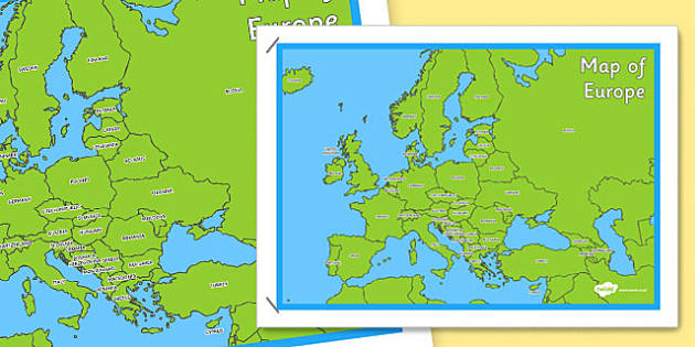 Map of europe poster map europe poster display continent gumiabroncs Gallery