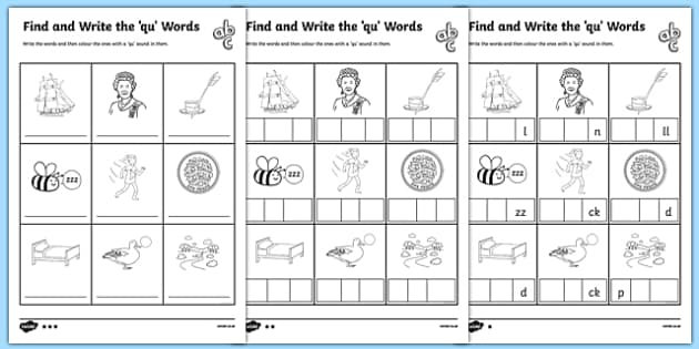 find and write the qu words differentiated worksheet activity