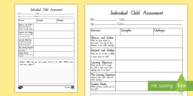 individual child assessment play observation form