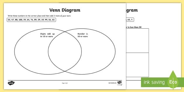 Carroll And Venn Diagram Worksheets Teacher Made