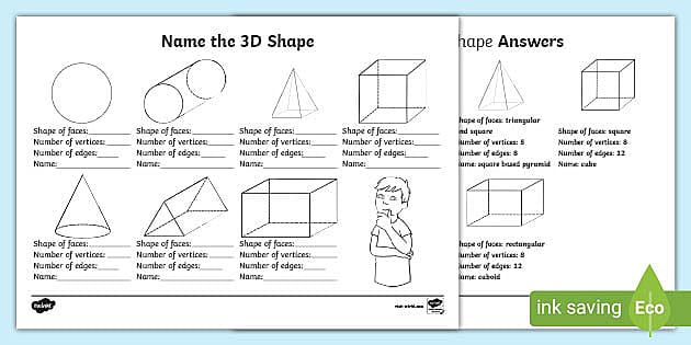 Shape Names 3D Shapes Worksheet Primary Resources