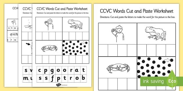 CCVC Cut and Paste Worksheet ccvc cut paste worksheet work – Cut and Paste Worksheet