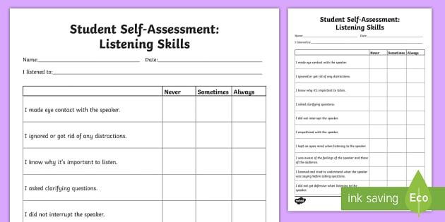 student self assessment listening skills worksheet activity. Black Bedroom Furniture Sets. Home Design Ideas