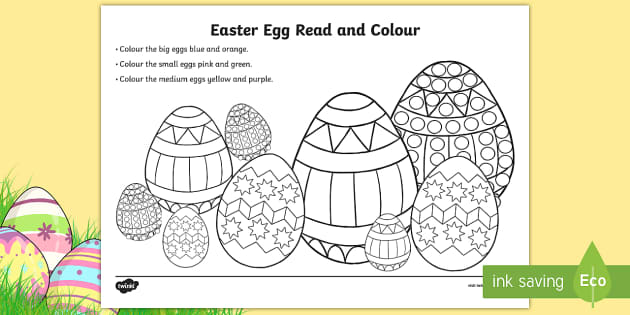 Easter Egg Read And Colour Activity Sheet