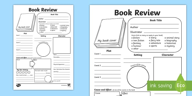 In Depth Book Review Writing Template - reading, book review