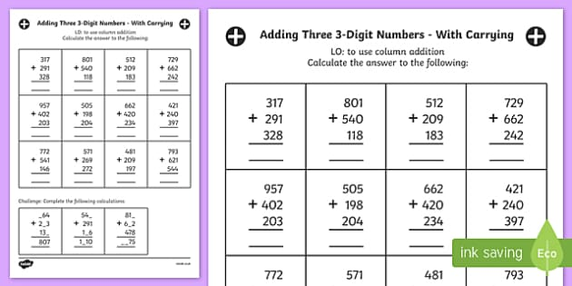 adding three 3 digit numbers in a column worksheet year 3. Black Bedroom Furniture Sets. Home Design Ideas