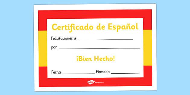 Spanish award certificate spanish award certificate spanish yadclub Gallery