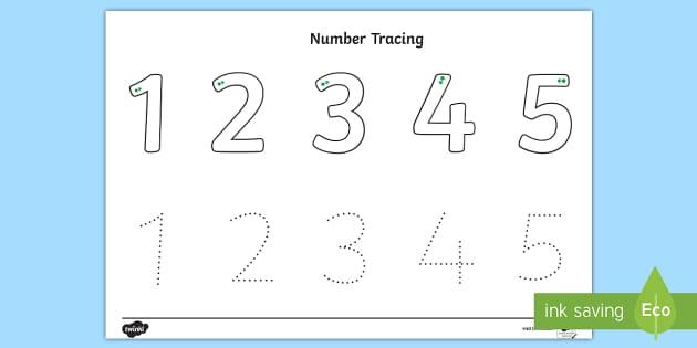 Tracing Numbers 1 5 Worksheets For Kindergarten