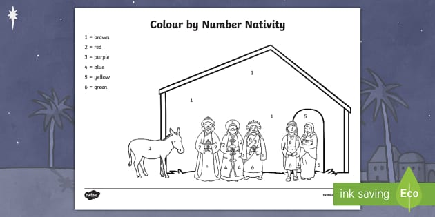 Nativity Colour By Numbers (teacher made)
