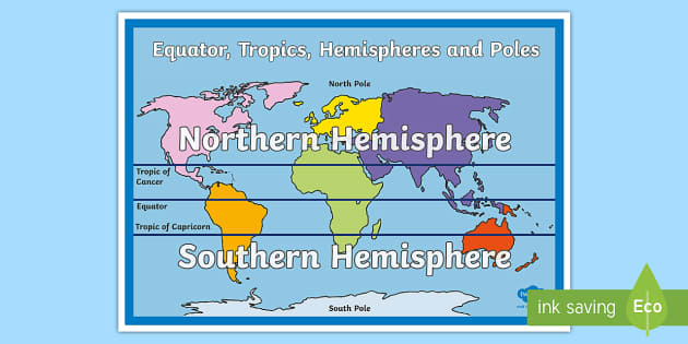 Equator Tropics Hemispheres And Poles Map Australia In - Blank world map equator tropics