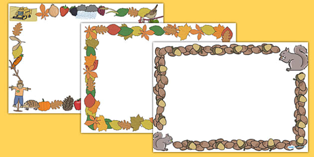 FREE! - Autumn Page Borders (Landscape) (teacher made)
