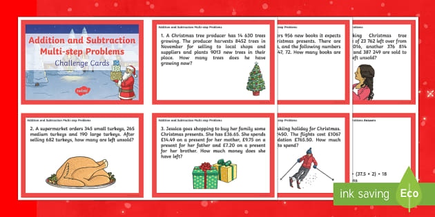 uks2 addition and subtraction multi step word problems christmas maths. Black Bedroom Furniture Sets. Home Design Ideas