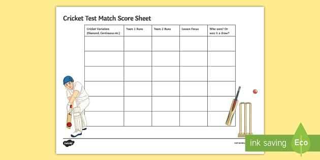Cricket Mixed Test Match Score Sheet  Cricket Test Match