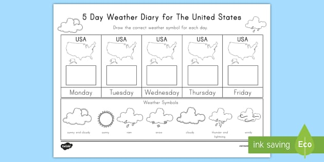 five day weather tracking worksheet weather climate usa america map. Black Bedroom Furniture Sets. Home Design Ideas