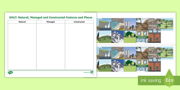 natural managed and constructed features worksheet worksheet ks1. Black Bedroom Furniture Sets. Home Design Ideas