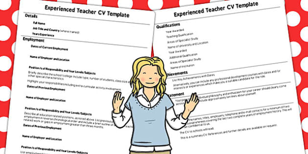 Experienced teacher cv template teacher template experience yelopaper Image collections