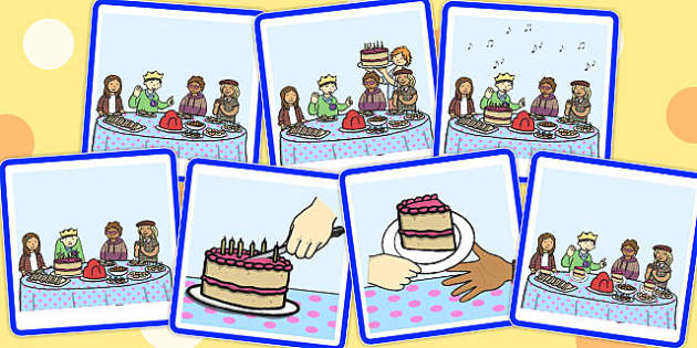 7 Step Sequencing Cards Birthday Party