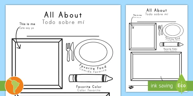 All About Me Coloring And Drawing Worksheet / Worksheet US English/Spanish