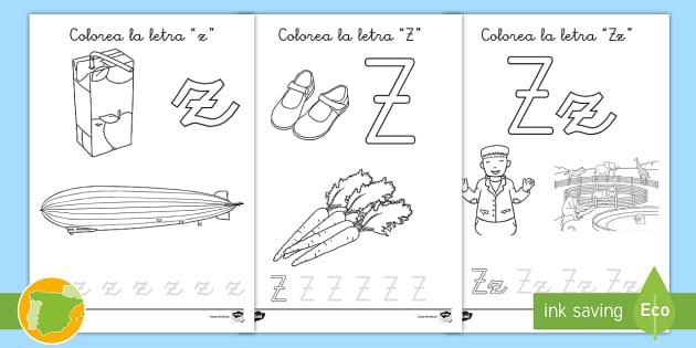 Hoja De Colorear La Letra Z Letras Fonemas Fonética