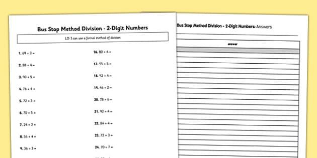 bus stop method formal division of 2 digit numbers worksheet. Black Bedroom Furniture Sets. Home Design Ideas