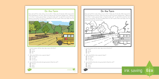 First Grade On The Farm Reading Passage Comprehension Activity