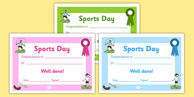 Editable award certificates editable sports day award for Sports day certificate templates free