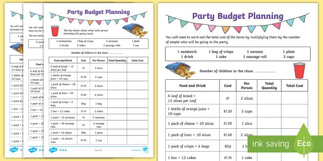 Lks2 Party Budget Planning Differentiated Worksheet Worksheets