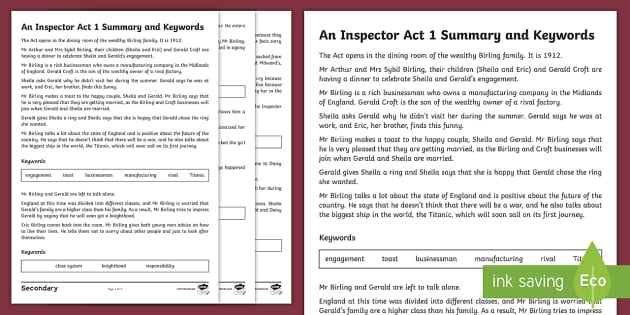 an inspector calls act one Act one note: beginning of play to arrival of inspector summary the play begins in 1912 with a dinner at the birling residence arthur leads a toast to the impending marriage of his daughter, sheila, and his son-in-law-to-be, gerald croft.