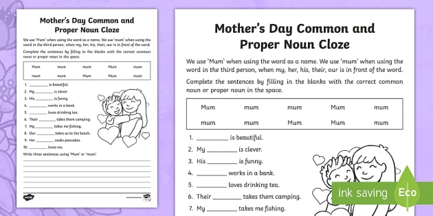 Mother S Day Common Noun And Proper Noun Cloze Worksheet