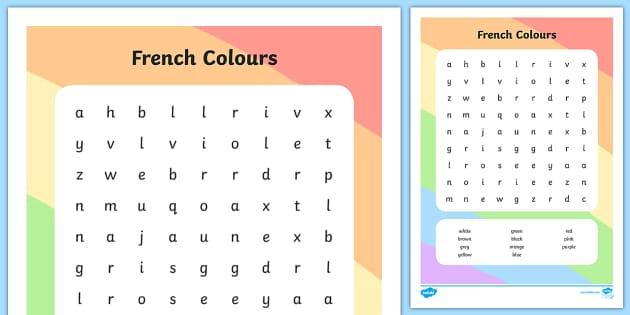 french colours wordsearch worksheets colour worksheet. Black Bedroom Furniture Sets. Home Design Ideas