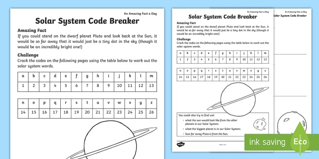 solar system code breaker worksheet worksheet amazing. Black Bedroom Furniture Sets. Home Design Ideas