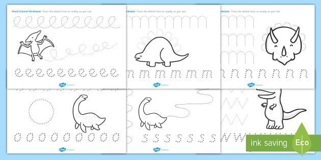 Dinosaur Pencil Control Worksheet Worksheets Dinosaurs