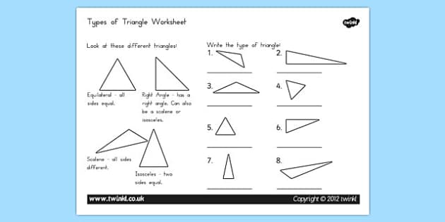Types of triangle worksheet triangle types worksheet ccuart Gallery