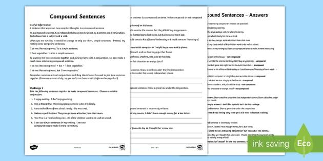 Compound Sentence Worksheet compound sentence worksheet – Compound Sentences Worksheet