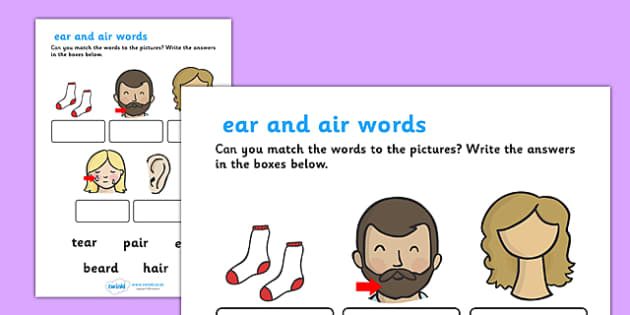 ear and air Sounds Matching Activity Worksheet ear – Ear Worksheet