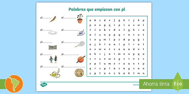 Sopa De Letras Palabras Con Pl Teacher Made